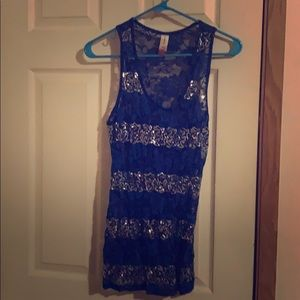 Women's large see through lace blue tank top